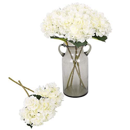 Kisflower 6Pcs Seiden Hortensie Künstliche Blumen Realistische Hortensie Blumen Bouquet für Hochzeiten Party Büro Home Decor (Weiß)