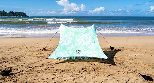 Neso Tenda da Spiaggia Tents con Ancoraggio a Sabbia, Parasole Portatile - 2.1m x 2.1m - Angoli rinforzati brevettati (Colore) (Mint Tie Dye)