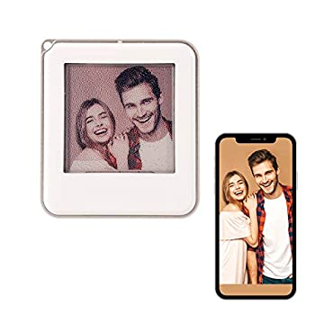 NFC Passive Custom Name Tag Printed ID Sign for Dog Cat Pet Luggage Personalized Digital Photo Keychain DIY Memorial Unique Gifts Picture Frame No Battery Needed  Silver