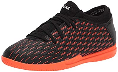 PUMA Future 6.4 IT Jr Soccer Shoe, Puma Black-Puma White-Shocking Orange, 1C US Unisex Little Kid
