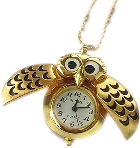 BelongsU Reloj de bolsillo con alas abiertas de búho vintage, colgante de animal, encantador reloj de bolsillo de cuarzo con aleación dorada, regalo para mujer