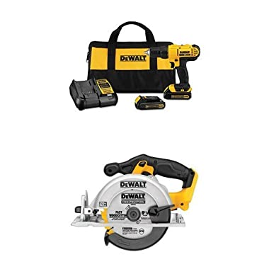 Dewalt DCD771C2 20V MAX Cordless Lithium-Ion 1/2 inch Compact Drill Driver Kit with DCS391B 20-Volt MAX Li-Ion Circular Saw