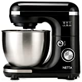 NETTA Stand Mixer 600W Tilt Head Food Mixer - Including Dough Hook, Whisk and Beater - 7 Different Speed Settings, 5L Stainless Steel Mixing Bowl - Includes Splash Guard