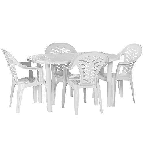 Resol 4 Person Gala Outdoor Garden Dining Table and Chairs Set - UV Resistant Patio Furniture - White