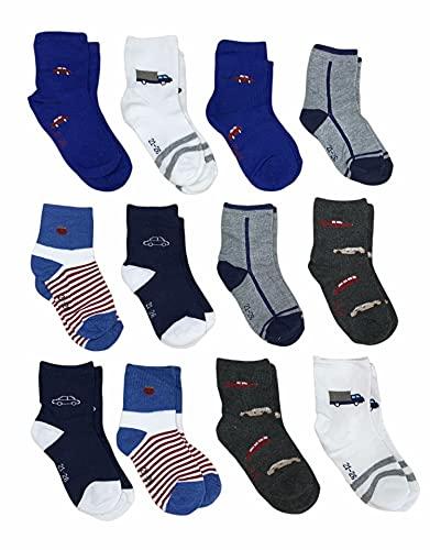 12 Pares Calcetines niño - calcetines niña - calcetines tobilleros niño - calcetines tobilleros niña (27-32, Multicolor Niño)
