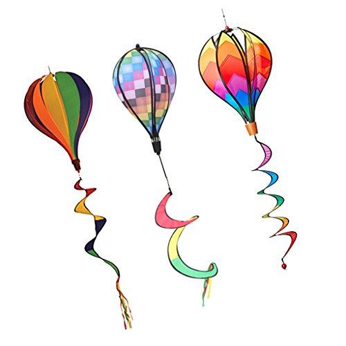 Toygogo 3stk. Windspiel Ballon bunt Windspinner Windspirale Gartendeko Kinderdeko