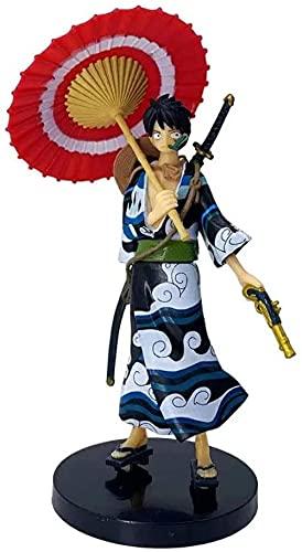 Kimono One Pieza Sombrero de Paja Troupe Luffy Monkey D Luffy Figura D Anime 17 cm (6 698in) / Estatua de PVC estática / Fans favoritas D Anime y Otaku / Modelo de Caracteres