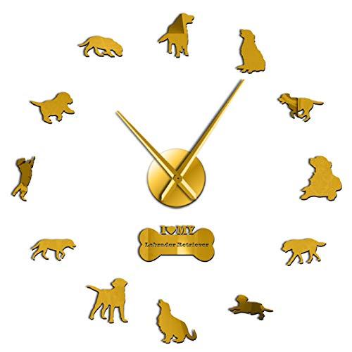 hufeng Reloj de Pared The Labrador Retriever Reloj de Pared Raza de Perro Labrador DIY Arte de Pared con Espejo Etiqueta de acrílico Efecto de Espejo Reloj de Manos Oro 37 Pulgadas