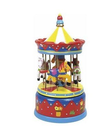 Ulysse Boite à Musique Manège Carrousel Jouet Musical en Bois décoration Enfant Bébé - Rouge