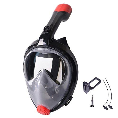 V VILISUN Vollmaske Schnorchelmaske Tauchmaske Vollgesichtsmaske mit 180° Sichtfeld, Dichtung aus Silikon Anti-Fog und Anti-Leck Technologie für Alle Erwachsene
