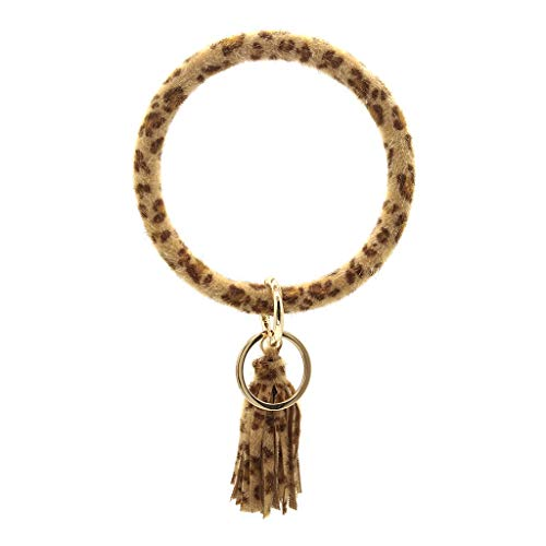 Fineday Keychain Bracelet Keyring Large Wrist Leather Tassel Bracelet Key Holder, Keychains, Products for Xmas Day (C)