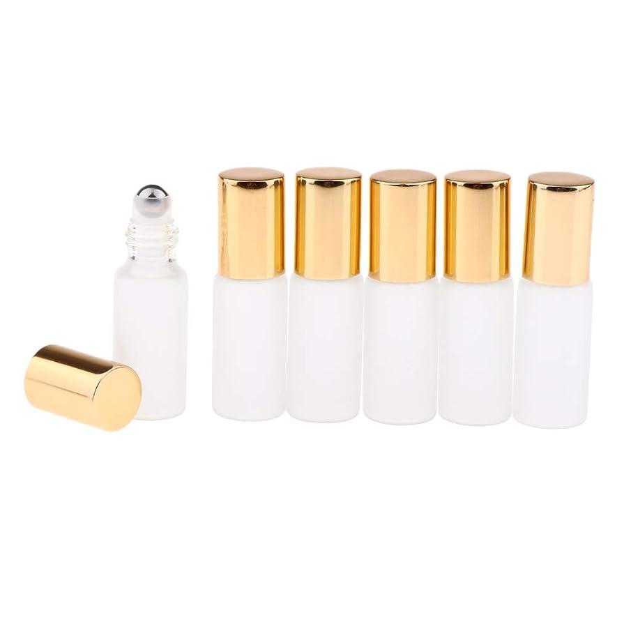 まぶしさ煩わしい流暢Perfeclan 3色選ぶ ロールオンアロマボトル 小分けボトル 詰替え容器 漏れ防止 ガラス製空のボトル 6本セット - ゴールド