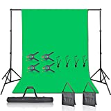 Emart Green Screen Backdrop with Stand Kit, 7 x 10ft Photography Background Support Stand with 6 x 9 100% Cotton Muslin Chromakey Greenscreen for Photo Video Studio YouTube Streaming Equipment