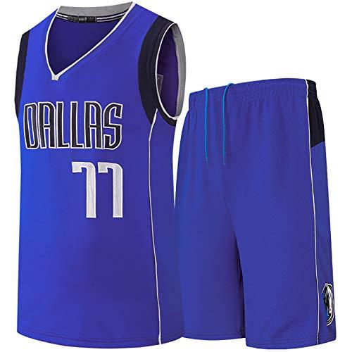 TYUIY Jersey de Baloncesto para Hombres, Adecuado para Dončić 77# Mavericks Jersey, Chaleco de Baloncesto + Traje Corto, Blanco/Azul Jersey, Baloncesto Uniforme de Seca Blue-XXL