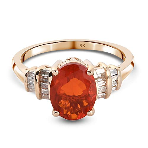 TJC AAA Fire Opal Solitaire Ring for Womens in 9ct Yellow Gold Engagement Gemstone Jewellery Size T with White Diamond October Birthstone, TCW 1.46ct