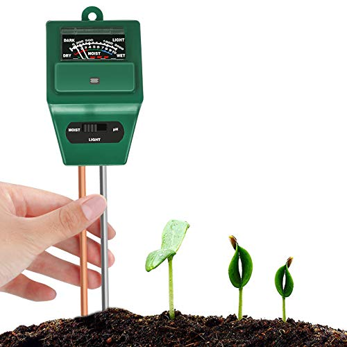 Bearbro Medidor de Humedad del Suelo,Monitor de Agua del Suelo,Medidor Digital 3 en 1 de la Humedad del Suelo y la acidez del PH, para Planta/Jardín/Granjas(No Necesita batería)