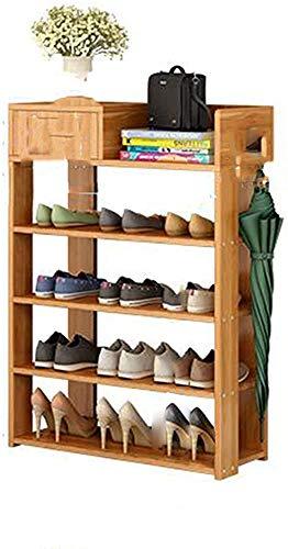 Tallero de zapatos de bambú, soporte de zapatos multifuncional multifuncional, estante de almacenamiento de estante de almacenamiento Entrada,4th floor