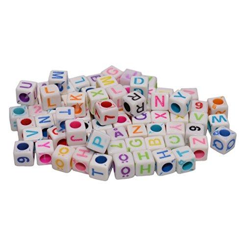 Buchstabenperlen weiß 50g (ca. 300 Stück) - Buchstabenwürfel Kunststoff Acryl Plastikperlen Würfel ABC 6x6mm