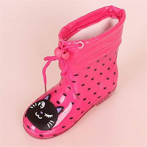 ADDYZ Primavera otoño lluvia botas de los niños felpa caliente tobillo botas niños bebé pvc impermeable zapatos niños niñas-24, punto negro