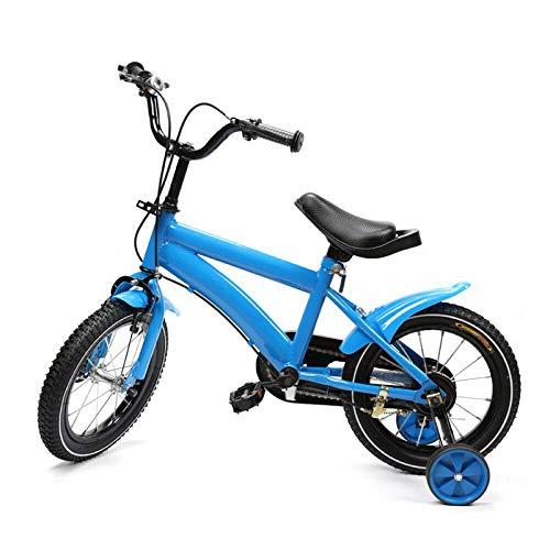 14 pulgadas Bicicleta para niños,Bicicleta para niños y niñas con ruedas de entrenamiento(Rueda auxiliar resistente al desgaste/neumáticos antideslizantes y resistentes al desgaste) Azul