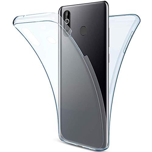 Uposao Kompatibel mit Samsung Galaxy A60 Hülle 360° Full Body Cover Soft Hülle Rundum Handyhülle Doppel-Schutz Hülle Vorne Hinten Silikon Transparent Dünne Durchsichtig Schutzhülle,Blau