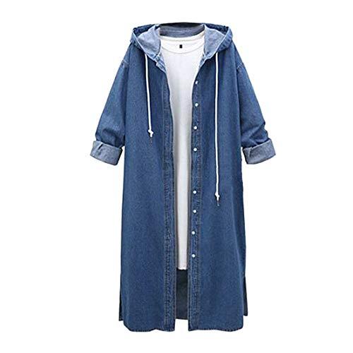 Lazzboy Cowboy Kleidung Damen Jeansjacke Hoodies Schlank Lange Mantel mit Kapuze Jacken Light Coat Herbst Winterjacke (Blau,36)