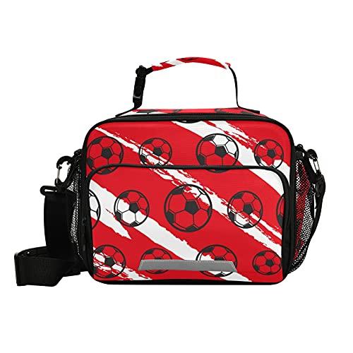 PUXUQU Lunch Tasche Fußball Ball Sport Kühltasche Schule Lunch Paket Lunch Tote Kühlbox Isoliertasche Mittagessen Tasche für Kinder Jungen Mädchen