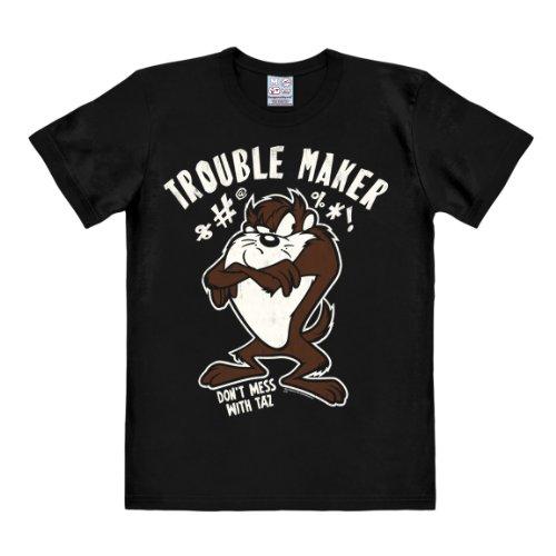 Logoshirt Herren T-Shirts  Looney Tunes - Trouble Maker, Rundhals  - Schwarz - Schwarz - Größe L (Herstellergröße: Large)