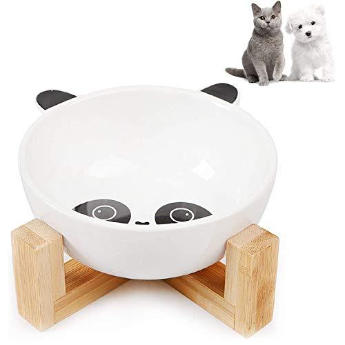 WELLXUNK® Cerámica Bowl Gatos, Cuencos elevados Mascotas, Bowl para Gatos y Perros para Perros Gatos Cachorros con Soportes de Bambú Antideslizante Cuenco de Agua para Personalizado y Práctico