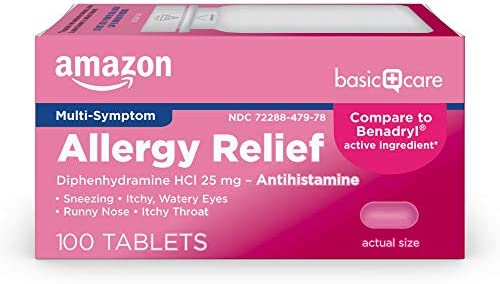 Amazon Basic Care Allergy Relief Diphenhydramine HCl Tablets 25 mg Antihistamine Pink 100 Count product image