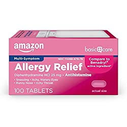 Amazon Basic Care Allergy Relief, Diphenhydramine HCl Tablets 25 mg, Antihistamine, Pink, 100 Count
