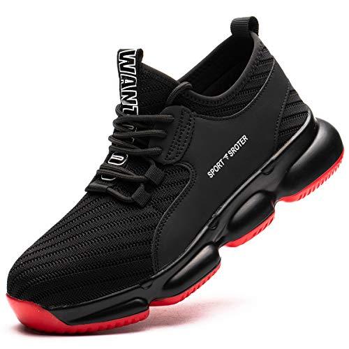 SROTER Chaussures de Sécurité pour Homme Femme, Standard S1 Embout Acier Respirant Chaussures de Travail Légère Chantiers et Industrie Basket, Noir, 44