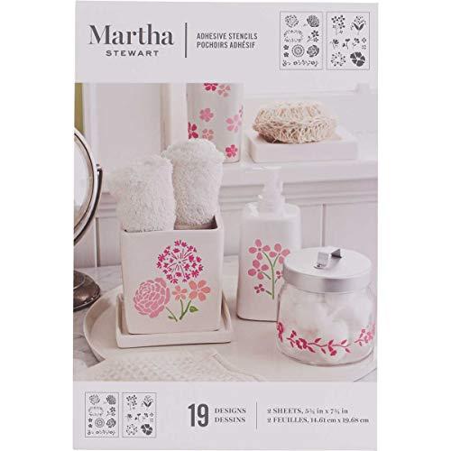 Martha Stewart Adhesive Stencils 2 Sheets/Pkg-Blossoms 5.75'X7.75' 19 Designs