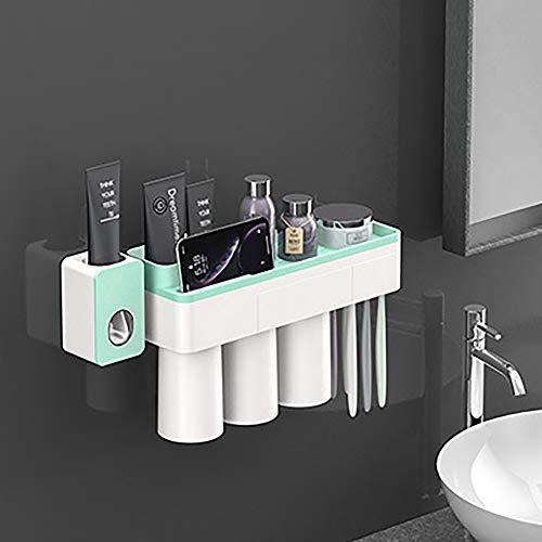 LNLN Tandenborstel Houder Automatische Tandpasta Dispenser Magnetische Adsorptie Omgekeerde Beker Wandmontage Badkamer Cleaner Opslag Rack Badkamer Accessoires Set,green-3-personen