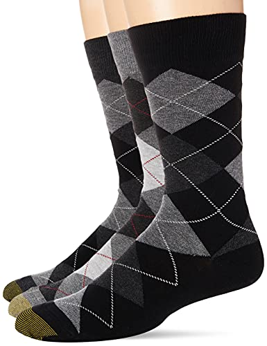 Gold Toe Men's Carlyle Argyle Crew Socks, 3 Pairs, Black Grey Argyle Mix, Shoe Size: 6-12