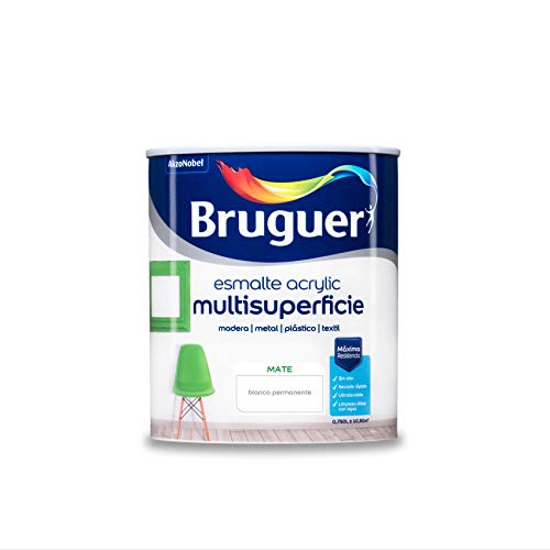 Bruguer Acrylic Multisuperficie Esmalte al agua Mate - Pintura 750 mL, Blanco Permanente
