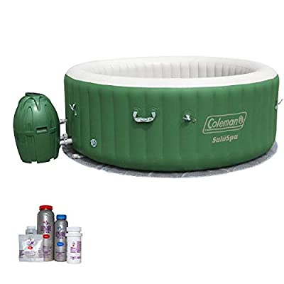 Coleman SaluSpa 6 Person Inflatable Outdoor Spa Hot Tub with Bromine Starter Kit