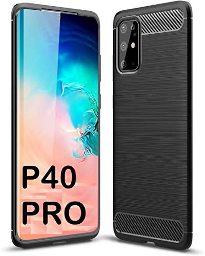tomaxx hoes voor Huawei P40 PRO silicone hoes beschermhoes silicone hoes carbon zwart compatibel met Huawei P40 PRO smartphone