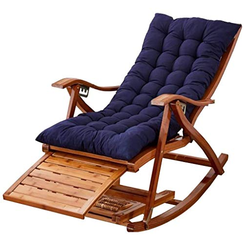 Alysays Silla Mecedora reclinable, Silla Mecedora de bambú Silla de salón al Aire Libre reclinación Ocio Solarium, jardín o terraza para sillones Naturales