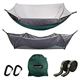 Cammouer Camping Tent Hammock for Trees Portable Hammock with Net Parachute Fabric Travel Bed for Hiking
