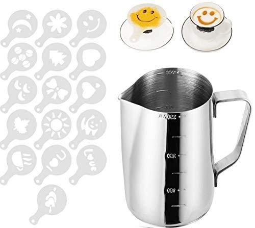 Liuer dzbanek na mleko ze stali nierdzewnej, 350 ml, srebrny dzbanek do mleka, dzbanek do mleka, spienianie do ekspresów do kawy, spienianie mleka, cappuccino i latte Art z 16 szablonami dekoracyjnymi