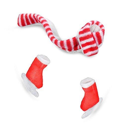 E-TING Santa Couture Kleidung für Puppen(Puppe Nicht Enthalten) (Roter und Weißer Schal und Skischuhe)