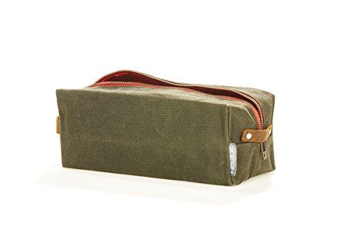 NOWUS Kulturtasche Canvas abwaschbar Damen Herren Frauen Männer Segeltuch Reise Camping Kulturbeutel (olive)