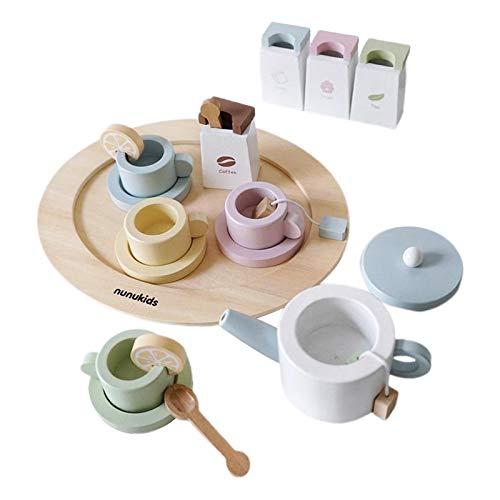 sharprepublic 16 Piezas de Cocina para niños, Juego de simulación, Juguetes con Taza de café y Bandeja para niños pequeños, vajilla, Juego de Juegos, Juego de