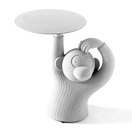 Hammer Creative Corners, Singe Arrondis Ciment béton Imitation, Résine Matériel Table Basse, côté Fun à Vivre dans l'art Plateau (Couleur: A, Taille: 39 * 60 * 60 cm) (Color : A)