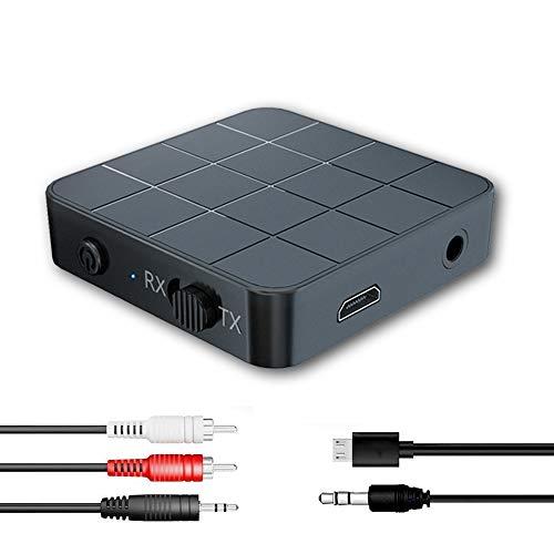 N/P Adaptador Bluetooth 5.0 Receptor Transmisor Bluetooth 2 en 1 Adaptador Audio Bluetooth RCA & 3.5mm AUX, Audio HD Baja Latencia Audio Estéreo para TV, PC, Cascos, Portátil Auriculares