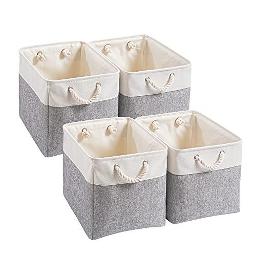 Mangata Aufbewahrungsboxen aus Segeltuch, 33 x 38 x 33 cm, groß, faltbar, Aufbewahrungskörbe für die Organisation von Kleidung, Kinderzimmer, Zuhause (grau/weiß, 4 Stück)