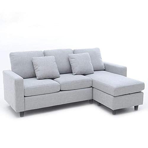 LUXES L Corner Sofa Couch Living Room Sofa Line Fabric Classic Modern  Furniture Couches