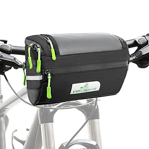 Fahrrad Lenkertasche mit Transparentem PVC-Sichtfenster, für Handy, Total 4L, Wasserabweisendes Material, incl. zusätzliche Regenhülle und abnehmbarem Schultergurt