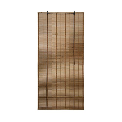 ALEKO BBL36X72BR Light Brown Bamboo Roman Wooden Roll Up Blinds Light Filtering Shades Privacy Drape 36 X 72 Inches